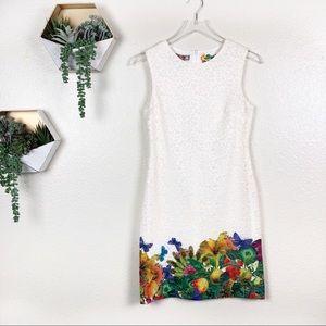 Desigual cream lace dress with bright floral hem